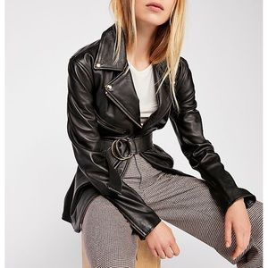 Ultra Lux Cinched-Waist Leather Jacket